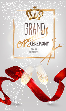 Grand opening sparkling invitation card with red satin ribbon, glasses of champagne and scissors. Vector illustration
