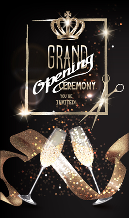 Grand opening sparkling invitation card with satin ribbon, glasses of champagne and scissors. Vector illustration