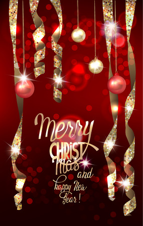 Greeting card with realistic shiny serpentine and christmas balls. Vector illustration