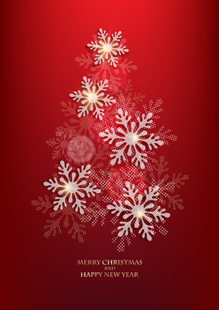Abstract christmas tree made from snowflakes. Vector illustration