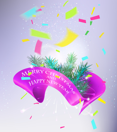 dcor: Christmas and New Year greeting card with christmas tree branches, confetti and satin pink curly ribbon. Vector illustration
