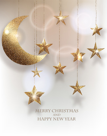 hangers: Christmas background with hanging textured sparkling gold stars and moon Illustration