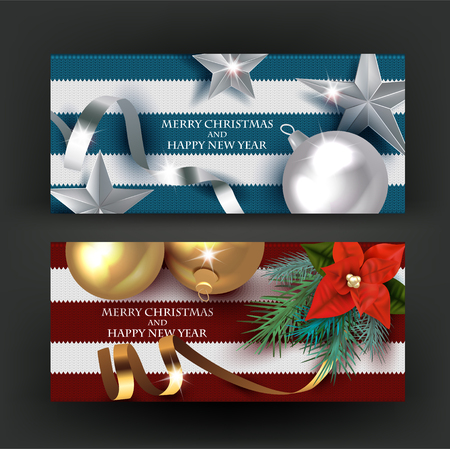 Christmas banners with decorations on the knitted background. Vector illustration