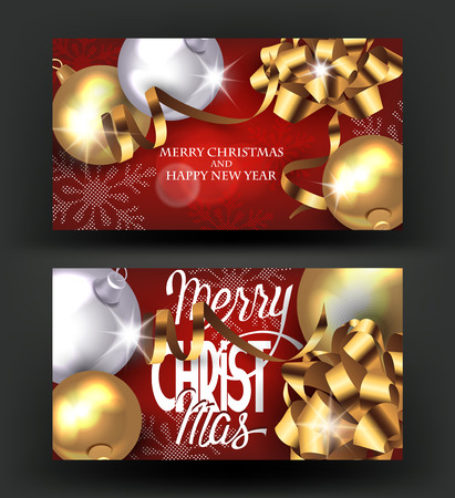 dcor: Christmas banners with decorations. Vector illustration