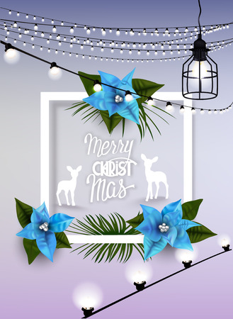 dcor: Christmas greeting card with frame and blue poinsettia flowers, silhouettes of deers and garlands. Vector illustration