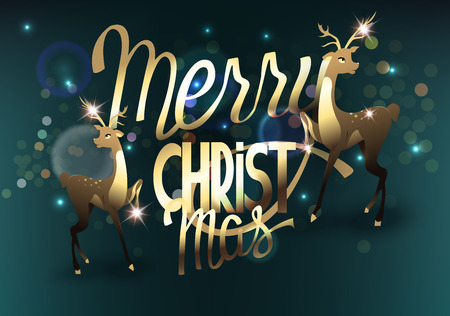 Christmas greeting card with christmas deers and lettering. Vector illustration 向量圖像