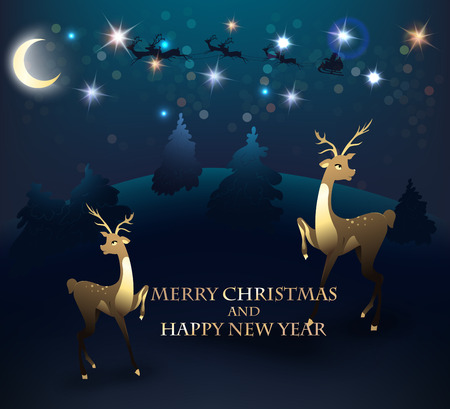 Christmas greeting card with reindeer, deers and forest on the background. Vector illustration 向量圖像