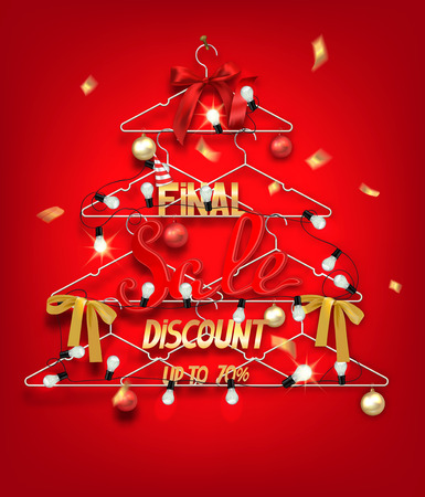 hangers: Christmas sale banner with abstract christmas tree made from hangers with decorations and confetti. Vector illustration