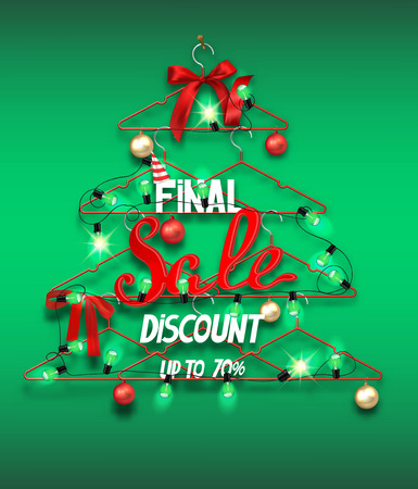 Christmas sale banner with abstract christmas tree made from hangers with decorations and garland of light bulbs. Vector illustration Illustration