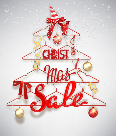 hangers: Christmas sale banner with abstract christmas tree made from hangers with decorations Illustration