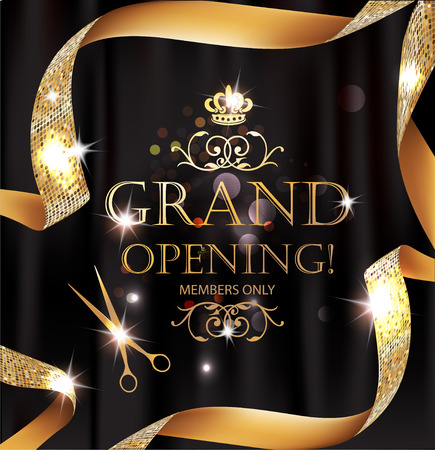 Elegant grand opening card with silk textured curled gold ribbon Stock Vector - 65942615