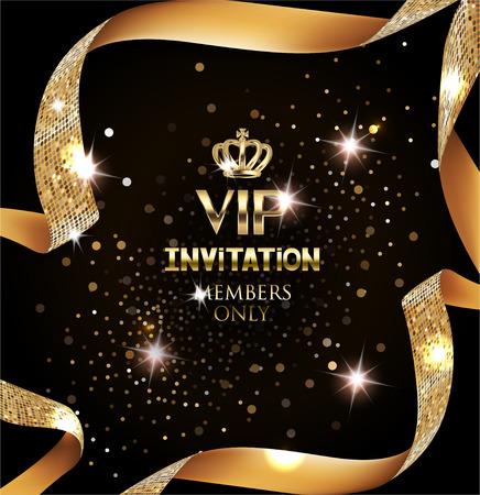 Elegant VIP invitation card with silk textured curled gold ribbon Illustration