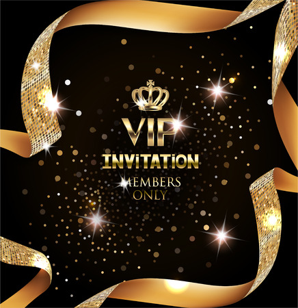 Elegant VIP invitation card with silk textured curled gold ribbon Vectores