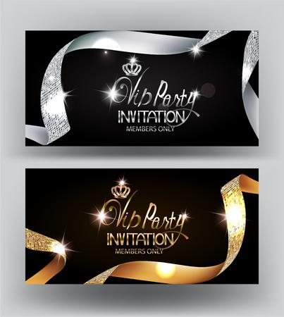 Elegantes tarjetas de invitación para fiestas VIP con cintas doradas y plateadas rizadas con textura. Ilustración vectorial