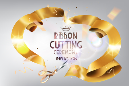 ticker: Grand Opening background with gold curly ribbon, flying confetti. Holiday background. Vector illustration