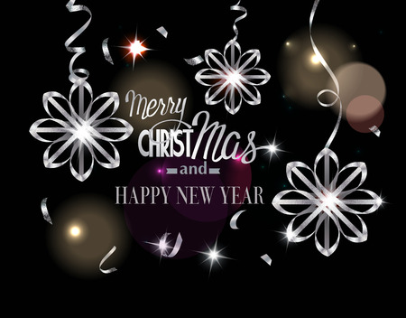 Merry Christmas background. Beautiful curled realistic sparkling silver snowflakes and serpentine. Holidays. Vector illustration