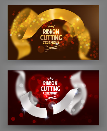 ceremony: Grand opening banners with blurred curly ribbons. Ribbon cutting ceremony. Vector illustration Illustration