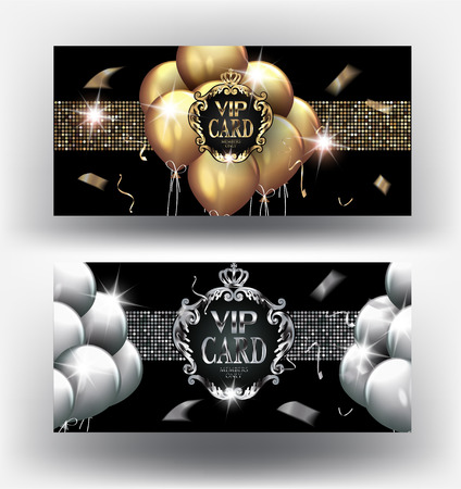 VIP gold and silver cards with vintage frames and air balloons. Vector illustration Illusztráció