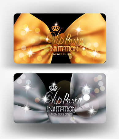 Vip Party invitation cards with big silk bows. Vector illustration