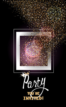 gold silver: Party invitation card with gold sparkling dust flying out the frame