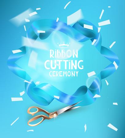 Ribbon Cutting Zeremonie Einladungskarte mit blauem Band, Schere und weißen fliegenden Konfetti. Vektor-Illustration Standard-Bild - 68697318