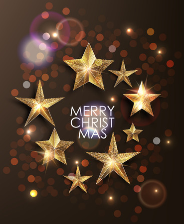 gold christmas decorations: Gold sparkling stars. Christmas decorations. Vector illustration Illustration