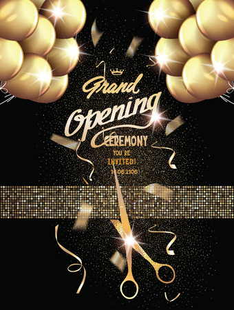 Grand Opening background with gold textured ribbon, flying confetti. Holiday background. Vector illustration
