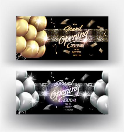 Gran Apertura de oro y plata elegantes banderas con cintas brillantes, globos de aire y confeti. ilustración vectorial Ilustración de vector
