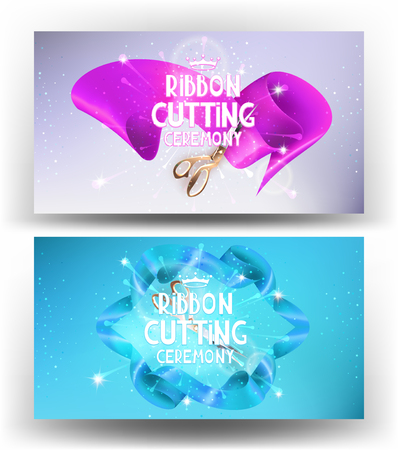business event: Grand opening horizontal cards with satin curly ribbons. Vector illustration