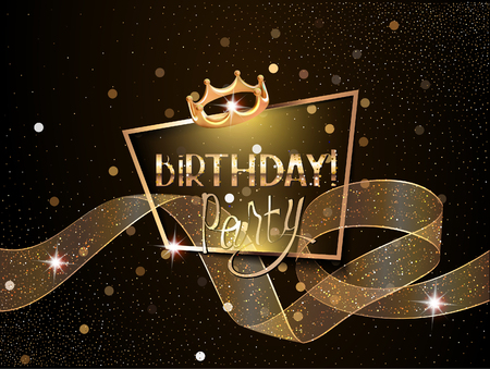 Birthday elegant greeting card  with pransparent curly ribbon, gold frame and crown. Vector illustration