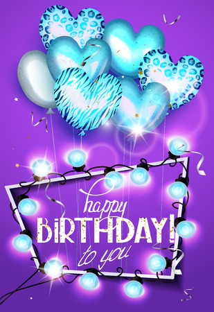 Birthday greeting card with heart shaped air balloons with animal print , garland of lights and frame. Vector illustration