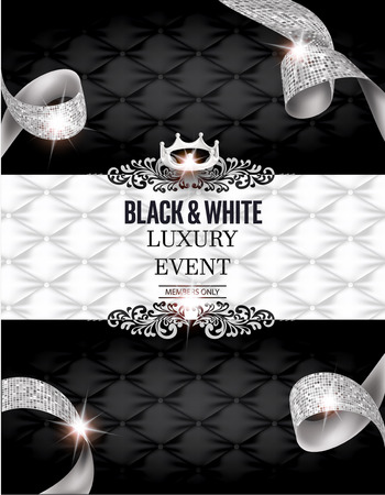 Elegant BLACK & WHITE Luxury event invitation card with silk textured curled ribbons and leather background. Vector illustration Illustration