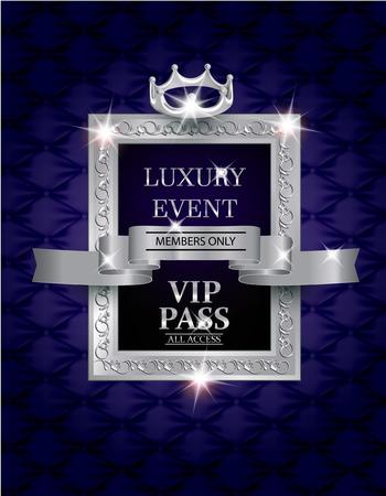Elegante luxe evenement VIP PASS met zijden geweven stof achtergrond, zilver vintage frame en lint. vector illustratie