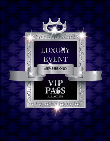 Elegant luxury event VIP PASS with silk fabric textured background, silver  vintage frame and  ribbon. Vector illustration
