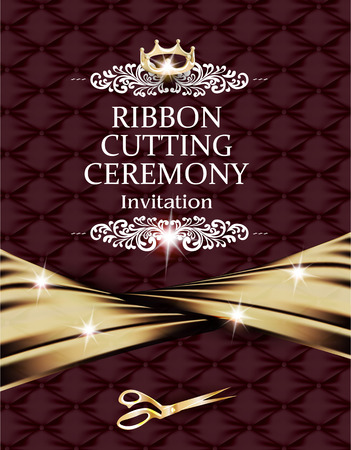 Elegant vintage ribbon cutting ceremony card with silk gold ribbon and leather background Illustration