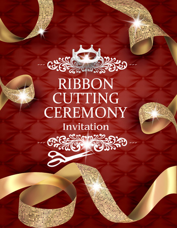 絹の質感と式カードを切断エレガントなビンテージ リボン カール ゴールドのリボンと革の背景  イラスト・ベクター素材