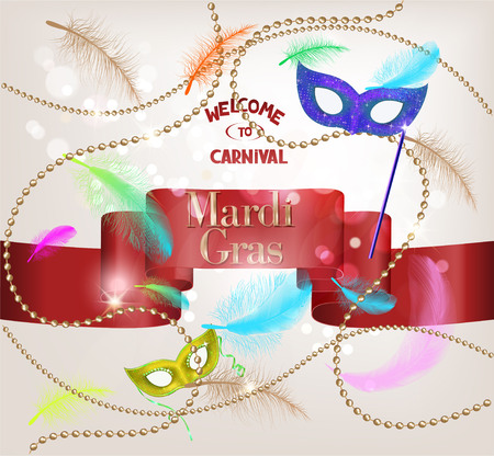 Falling feathers, red ribbon and gold beads. Mardi Gras. Carnival background. Vector illustration Illustration
