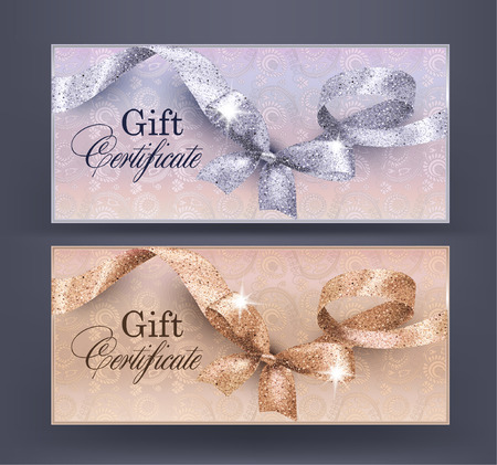 Gift Certificates with floral design background and shiny curly ribbon with bow. Vector illustration Illustration