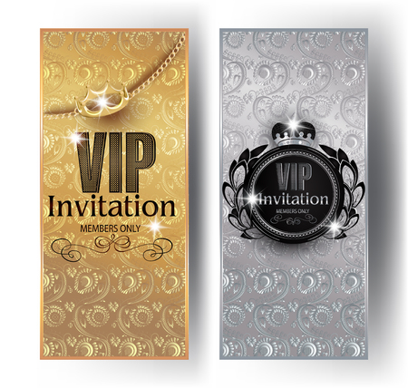Gold and silver VIP invitation cards with floral design background, crowns and vintage frames. Vector illustration