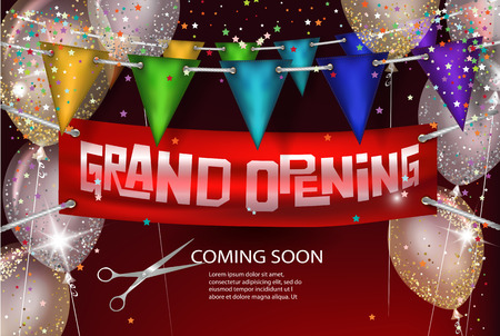 Grand opening background with banner, air balloons and flags. Vector illustration