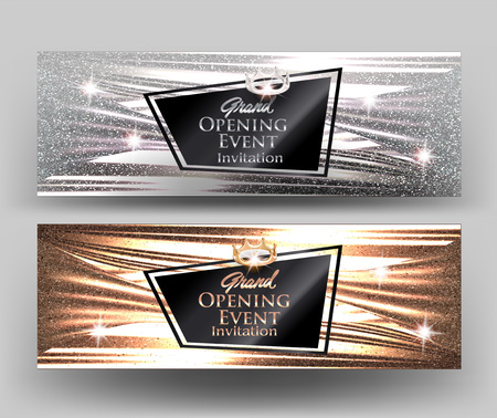Grand opening elegant cards with sparkling fabric texture. Vector illustration