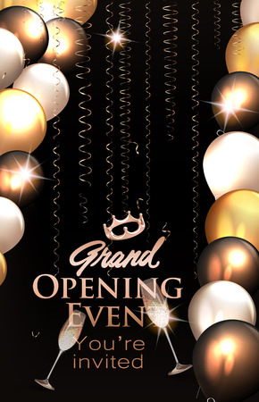 Grand opening invitation card with air balloons and gold serpentine. Vector illustration