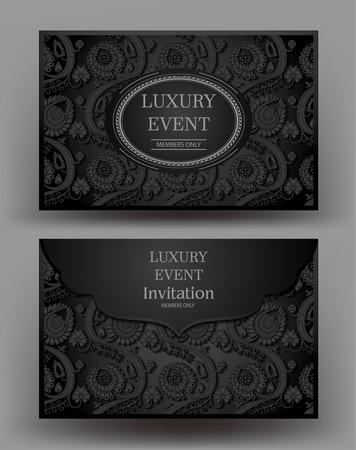 Luxe evenement elegante zwarte envelop met bloemmotief. Vector illustratie Stock Illustratie