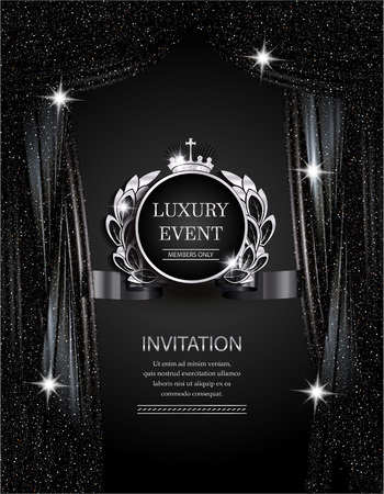 Luxury event elegant silver and black background with sparkling theater curtains. Vector illustration Vettoriali