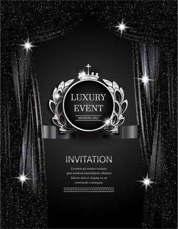 Luxegebeurtenis elegante zilveren en zwarte achtergrond met fonkelende theatergordijnen. Vector illustratie Stock Illustratie