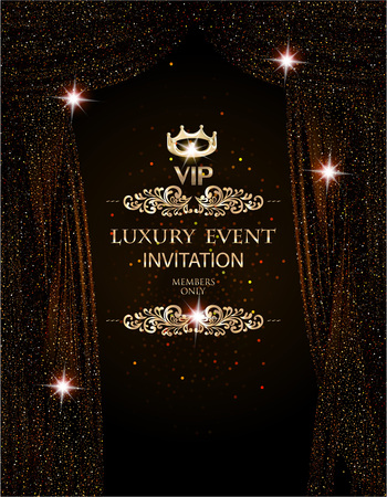 Luxury event elegant background with sparkling theater curtains. Vector illustration