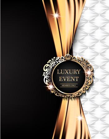 Luxe evenement elegante kaart met gouden stof, lederen achtergrond, vintage frame. Vector illustratie