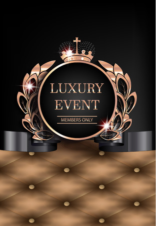 Luxury event elegant card with leather background, vintage frame. Vector illustration Illustration