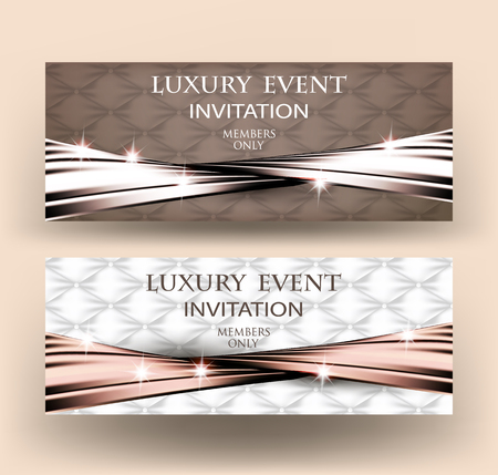 Luxury event elegant cards with fabric textured background and warped silk ribbon. Vector illustration