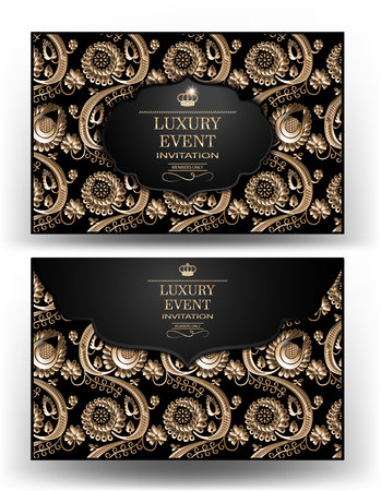 luxuries: Luxury event elegant gold and black envelope with floral design background. Vector illustration